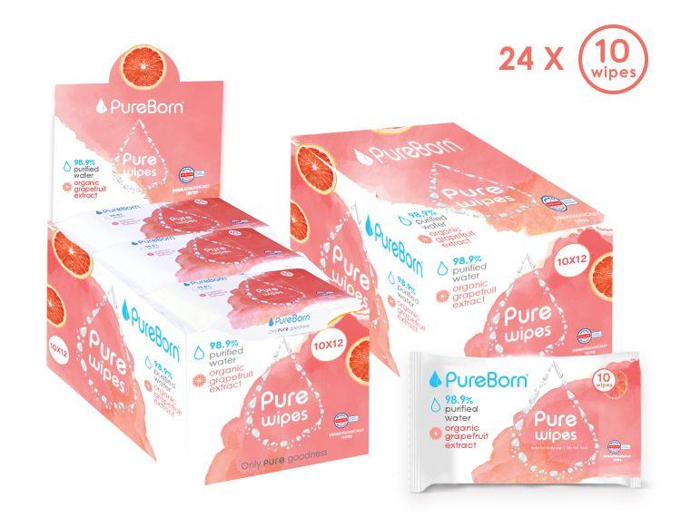 Pure wipes - Grapefruit - 10's X 24 Bundle (240 wipes)