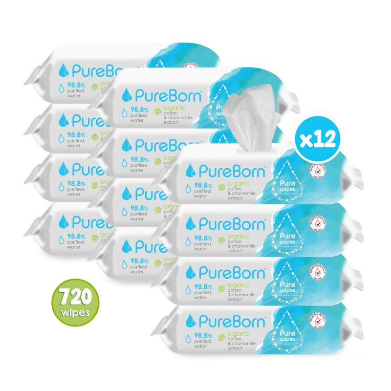 12 Packs x 60's - Organic Chamomile Baby Wipes